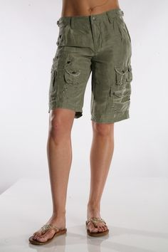 KneeShorts Women's Modest Cargo Shorts, Khaki *Final Sale ...
