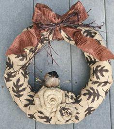 Rustic Fall Burlap Wreath by jennifercausey on Etsy, $38.00