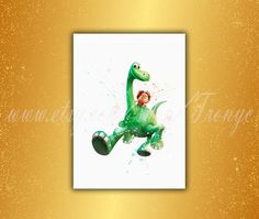 The Good Dinosaur Arlo and Spot Watercolor Print Disney by TRONYC