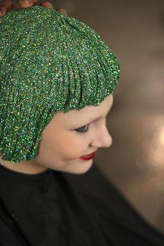 Green glitter hair