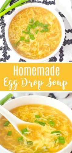 """""""This easy delicious Homemade Egg Drop Soup Recipe is just like your favorite Ch. """"This easy delicious Homemade Egg Drop Soup Recipe is just like your favorite Chinese takeout soup ery easy to make Egg Recipes For Dinner, Easy Soup Recipes, Cooking Recipes, Healthy Recipes, Keto Recipes, Chinese Soup Recipes, Recipes For Eggs, Best Egg Recipes, Homemade Chinese Food"""