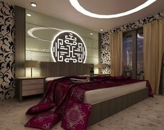 Explore the best mesmerizing Modern Bedroom Wall Design Ideas at Live Enhanced. Visit for more images and take some ideas about Bedroom Wall Design. Bedroom Wall Designs, Bedroom Themes, Bedroom Decor, Asian Bedroom, Modern Bedroom, Interior Chino, Asian Home Decor, Modern Ceiling, Ceiling Design