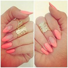Perfect soft coral manicure with a twist
