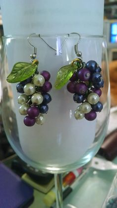 3 color wine grape earrings with a leaf by WineandEquine on Etsy