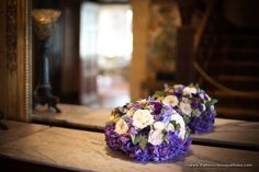 Bold and Bright Purple Low Centerpieces of Hydrangea, White Yarrow and Ivory and Sahara Roses - The French Bouquet - Ace Cuervo Photography