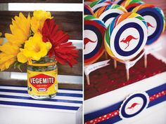 Love the flowers in the Vegemite jar! A great Australia Day table centrepiece idea