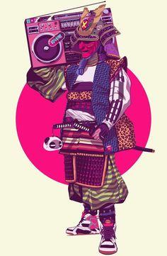 Hip-Hop Samurai Art Print by Mike Wrobel Urban Samurai, Samurai Art, Arte Hip Hop, Hip Hop Art, Art And Illustration, Dope Kunst, Cyberpunk Kunst, Street Art, Pop Culture Art