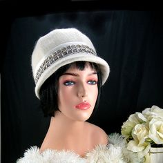 Woman's Mohair Wool Hat Winter White Vintage by AtticDustAntiques