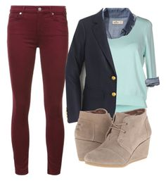 """""""turquoise sweater, denim, and navy blazer"""" by cnjkitcat on Polyvore featuring 7 For All Mankind, Darling, Hollister Co., J.Crew and TOMS"""