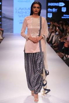 Blush embroidered short kurta with navy fish scale Afghani salwar and blush…