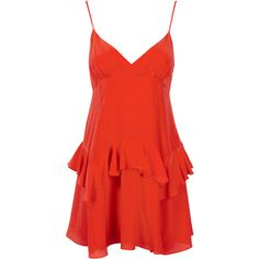 RUFFLE SLIP DRESS RED ($250) ❤ liked on Polyvore featuring dresses, red day dress, frill dress, frilled dress, red frill dress and flouncy dress