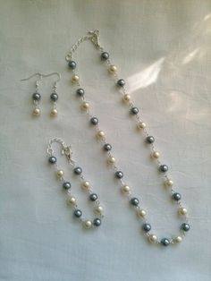 Bridesmaids Jewelry Set Silver & Cream Pearl by InfinityByClaire, £12.00