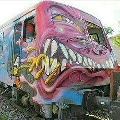 Grrr monster graff train. #slikbone #graffiti #spraycan #ironlak #stickerbomb #urbex #fuckthesystem #skateboard #streetart