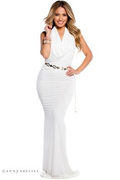 White, Long, Drapey, Scoop Neck, Open Back, Gown