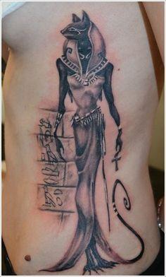 Egyptian Tattoos based around Bastet, the goddess of Love, Dance, Joy, Music, and Protection.