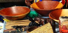 HAND CARVED WOODEN BOWLS  Material: Wood  Made in South AFrica.     The bowl is quite heavy, can be used for food  decoration as well as salads.
