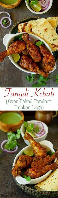 TANGDI KEBAB (OVEN BAKED TANDOORI CHICKEN LEGS) - HAPPY&HARRIED. #Tandoori spiced #chicken #drumsticks are grilled to juicy perfection in the oven. #Tangdi #kebabs make great appetizers, side or main for your #Indian #dinner. #happyandharried #recipe