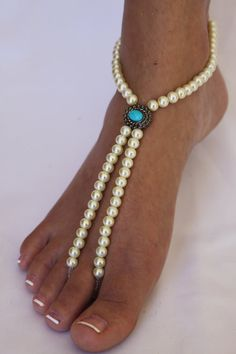 Beach Wedding Barefoot Sandals Vintage Inspired by ABiddaBling, $27.99