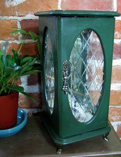 Bluestockingbooth -- Elegant Forest Green Upcycled Jewelry Box