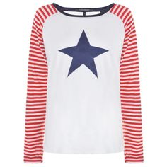 MAISON SCOTCH Baseball T Shirt ($61) ❤ liked on Polyvore featuring tops, t-shirts, long sleeve tees, long sleeve crew tee, print t shirts, baseball tee and long sleeve polyester t shirts