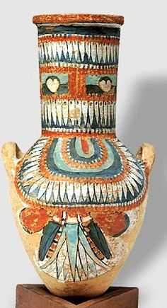 Highly decorated pottery vessel from the tomb of Sennedjem, New Kingdom, Dynasty 19 Reign: reign of Ramesses II Date: ca. 1279–1213 B.C.