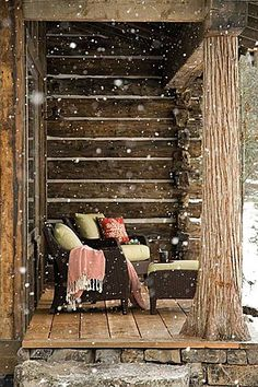 Oh, imagine sitting out there in your PJs, cuddled up in that blanket, watching the snow fall...