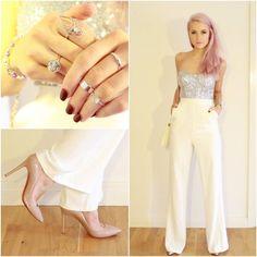 White Wide Leg Trousers and a Sequin Corset Top Sarah Juarez