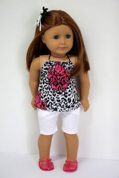 American Girl Doll Clothes-Halter Top and Jean Shorts