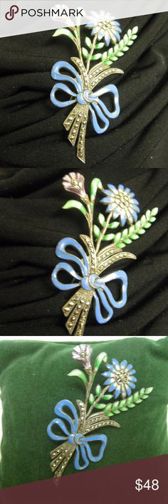 ART DECO Floral Sterling Marcasite Enamel Brooch Truly one-of-a-kind condition 1930s floral bouquet with bow sterling enamel brooch.  This ART DECO beauty has blue, green, lavender enamel meticulously hand applied to a sterling silver base.  Stems and flower centers have hand-set period marcasites.  Secure roll over clasp.  Except for light patina on the back, this piece is pristine!!   ART DECO at its best!  Do not let this one pass you by! 11.5g  (717OQ146) Vintage ART DECO Jewelry…