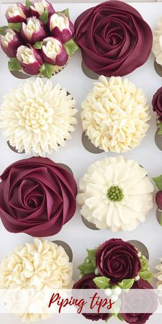 Here are 3 of my favorite cupcake recipes and how to garnish them; Personally, I prefer filled cupcakes … enjoy your cupcake girls! Cupcakes Flores, Flower Cupcakes, Cupcake Bouquets, Pretty Cupcakes, Beautiful Cupcakes, Best Frosting Recipe, Frosting Recipes, Cupcake Frosting Techniques, Cupcake Icing Tips