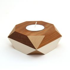 Geometric Wooden Candle Holder - gold | Felt