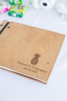 Wooden Guest Book With Pineapple Detail