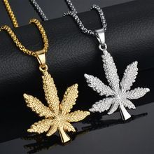 6a137c8752f UNB 2017 New Gold Silver Plated Cannabiss Small Weed Herb Charm Necklace  Maple Leaf Pendant Necklace Hip Hop Jewelry Wholesale