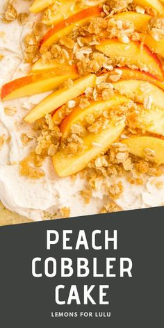 This Peach Cobbler Cake is made with fresh peaches and topped with the most perfect brown sugar frosting! This peach cake is a wonderful way to enjoy the season's best! Peach Cobbler Cake, Peach Cake, Yummy Snacks, Yummy Food, Brown Sugar Frosting, Healthy Salads, Sweet Treats, Lunch, Dinner