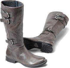 Gray Leather Boots Women
