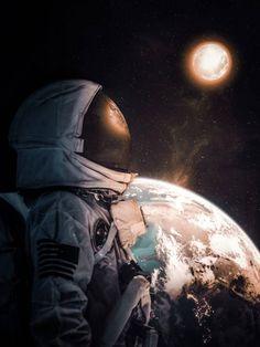 Astronaut looking moon wallpaper by Genz_Artist - 8b - Free on ZEDGE™