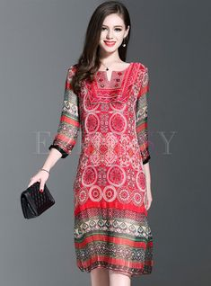 Shop for high quality Vintage Three Quarters Sleeve Print Loose Shift Dress online at cheap prices and discover fashion at Ezpopsy.com
