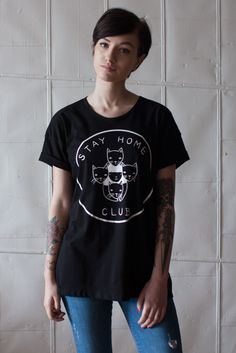 Our logo is screen printed in whiteonto ablack 100% cotton jersey loose tee. This is a one size fits most item that fits loose and slouchyon women who usuall