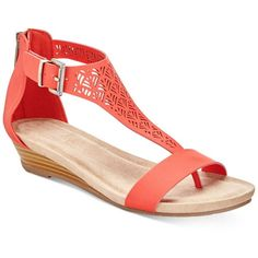 Kenneth Cole Reaction Great Gal Wedge Sandals (13.075 HUF) ❤ liked on Polyvore featuring shoes, sandals, coral, kenneth cole reaction, coral sandals, wedge sandals, coral wedge shoes and coral wedge sandals