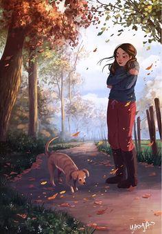personal illustrations and paintings by yaoyao ma van as Art Anime Fille, Anime Art Girl, Cartoon Kunst, Cartoon Art, Dibujos Cute, Illustration Mode, Website Illustration, Girl And Dog, Cute Drawings