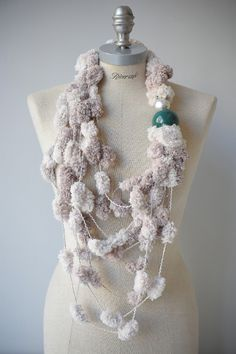 Handmade scarf wool and china - sciarpa in lana e ceramica artigianale #accessories