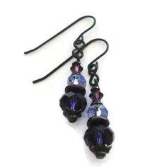 Purple Crystal Earrings Victorian Gothic Swarovski Bridal Goth Wedding Handmade Jewelry Cosplay