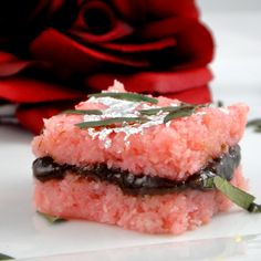 Paan-e-Rose -- Refreshing paan filling sandwiched between two pieces of coconut & rose burfi. So beautiful!