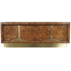 Vintage Burl Wood and Brass Credenza by Bill Doezema for Mastercraft ca.1970's