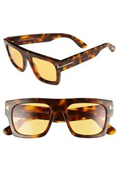 e66275b7e4b TOM FORD Designer Fausto 53mm Flat Top Sunglasses