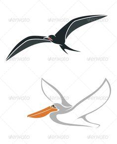 Albatross and Pelican Birds Symbols  #GraphicRiver         Albatross and p
