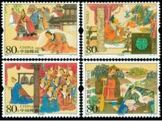 """China Stamps - 2004-5 , Scott 3346-9 Stories of Idioms, MNH, F-VF by Great Wall Bookstore, Las Vegas. $1.11. The idiom """"Trying to learn the Handan Walk"""" originated from a story about a native of the State of Yan who went to Handan to learn the walk manner of the people of the State of Zhao, only to forget his own manner of walk, and had to crawl back home. The expression is used to ridicule those imitating others blindly. According to the story of """"Lord Ye's Love for Drag..."""