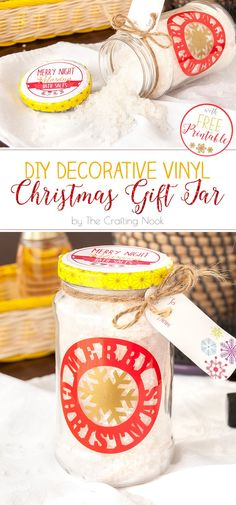 Love Recycling? Love DIY Christmas gifts? Love Silhouette? yes? This Decorative Vinyl Christmas Gift Jar is perfect tute project for you!