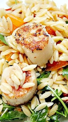 Orzo Salad with Scallops ~ Loaded with veggies and seafood, this salad is as beautiful to look at as it is delicious.