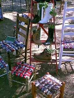 Woven Tie Seat Chair Fun Project Ideas Tie Crafts